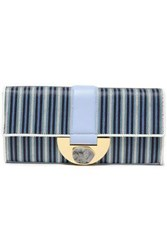 Diane Von Furstenberg Woman Embellished Leather Trimmed Striped Faux Raffia Clutch Light Blue