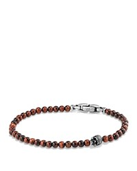 David Yurman Spiritual Beads Skull Bracelet With Red Tiger's Eye In Sterling Silver Red Silver