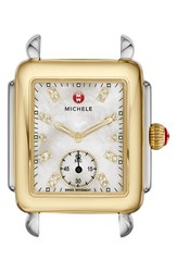 Michele Women's 'Deco 16' Diamond Dial Two Tone Watch Case 29Mm X 31Mm Gold Silver