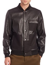 Alexander Wang Leather And Canvas Bomber Jacket Black
