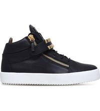 Giuseppe Zanotti Gold Tooth Embellished Leather Trainers Black