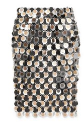 Paco Rabanne Paillette Embellished Chainmail Skirt Silver