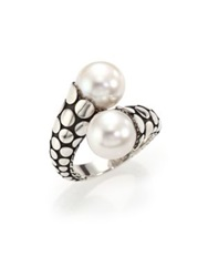John Hardy Dot 11Mm White Pearl And Sterling Silver Toi Et Moi Ring