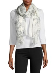 Lord And Taylor Sketch Floral Scarf White