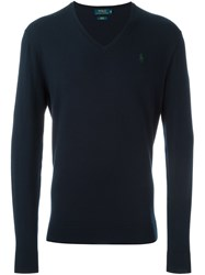 Polo Ralph Lauren Embroidered Logo V Neck Jumper Blue