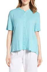 Eileen Fisher Women's Mandarin Collar Organic Linen Knit Shirt Scarab