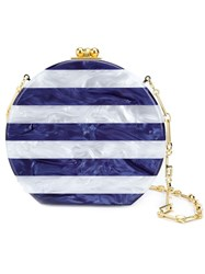 Edie Parker 'Oscar' Striped Snap Closure Round Clutch Bag White