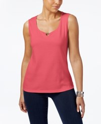 Karen Scott Cotton Keyhole Tank Top Only At Macy's Peony Coral