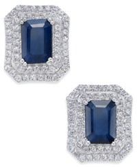 Macy's Blue Sapphire 3 Ct. T.W. And White Sapphire 1 Ct. T.W. Rectangular Stud Earrings In 14K White Gold