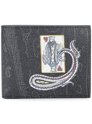Etro King Of Hearts Wallet Black
