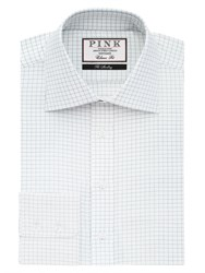 Thomas Pink Men's Joaquin Check Classic Fit Button Cuff White