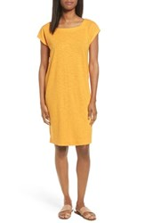 Eileen Fisher Women's Hemp And Organic Cotton Square Neck Shift Dress Orangeade