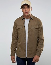 New Look Military Shirt Jacket In Dark Khaki Khaki Brown