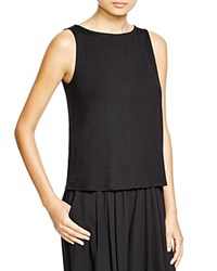 Eileen Fisher Short Boat Neck Tank Black