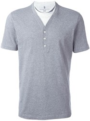 Brunello Cucinelli Buttoned V Neck T Shirt Grey