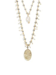 Alanna Bess Labradorite And Freshwater Pearl Layered Necklace No Color