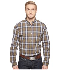 Roper 0554 Green River Plaid Button Brown Men's Clothing