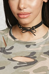 Forever 21 Faux Suede Bow Choker Black Gold