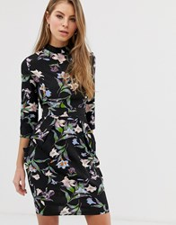Qed London High Neck Tulip Dress In Floral Print Black