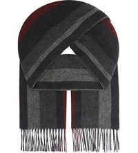 Johnstons Double Face Cashmere Scarf Charcoal Red