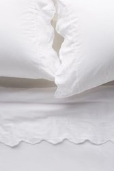 Anthropologie Embroidered Sateen Sheet Set White