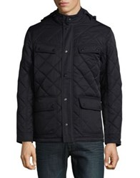 Black Brown Quilted Jacket Dark Navy