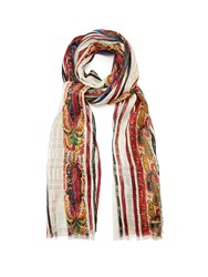 Etro Paisley And Striped Print Silk Scarf Red