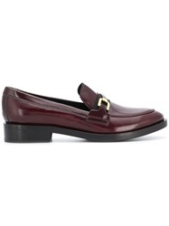 Geox Front Buckle Loafers Red