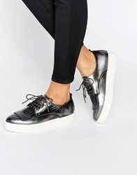 Dune Emmy Fringe Detail Lace Up Trainers Pewter Silver