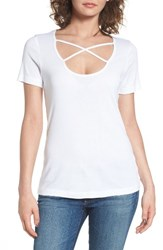 Splendid Women's 1X1 Cross Front Tee White