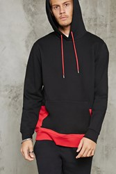 Forever 21 Colorblock Hem Fleece Hoodie Black Red