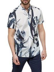 Selected Homme Two Japan Printed Short Sleeve Shirt Marshmallow