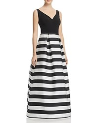 Js Collections Striped Skirt Gown Black Ivory