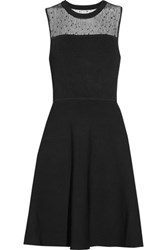 Jason Wu Lace Paneled Ponte And Stretch Knit Dress Black