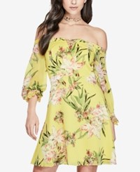 Guess Printed Off The Shoulder Dress Tropic Iris Aurora