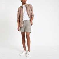 River Island Beige Check Slim Fit Shorts