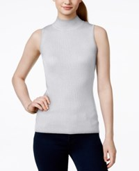 It's Our Time Juniors' Rib Knit Sleeveless Turtleneck Sweater Cream