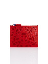 Shanghai Tang Ginkgo Embossed Leather Flat Pouch Red