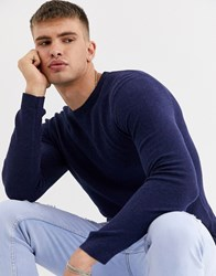 Tom Tailor Crew Neck Jumper In Blue Melange
