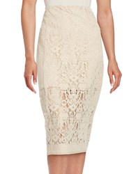Dkny Lace Pencil Skirt Beige