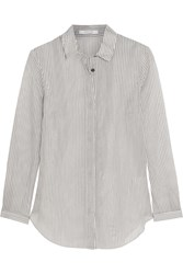 Carven Striped Cotton And Silk Blend Shirt Gray