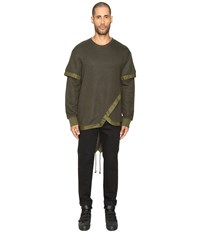 D.Gnak Layered Fish Tail Pullover Khaki