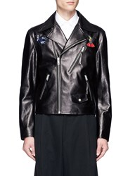Alexander Mcqueen Hummingbird Embroidered Patch Leather Jacket Black