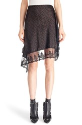 Givenchy Women's Logo Print Lace Trim Asymmetrical Silk Skirt Black