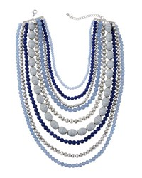 Lydell Nyc Nine Layer Statement Beaded Necklace Blue