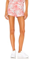 Monrow Palm Lounge Shorts In Pink. Peach
