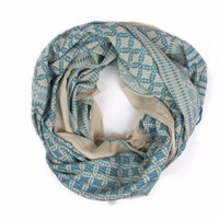 Bohemia Embroidered Scarf Teal Blue