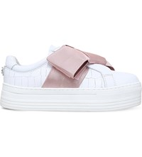 Kurt Geiger Laurel Bow Embellished Leather Trainers White Comb
