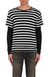 R 13 R13 Men's Striped Cotton Cashmere Layered T Shirt Black
