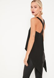 Missguided Black Open Flared Back Cami Top